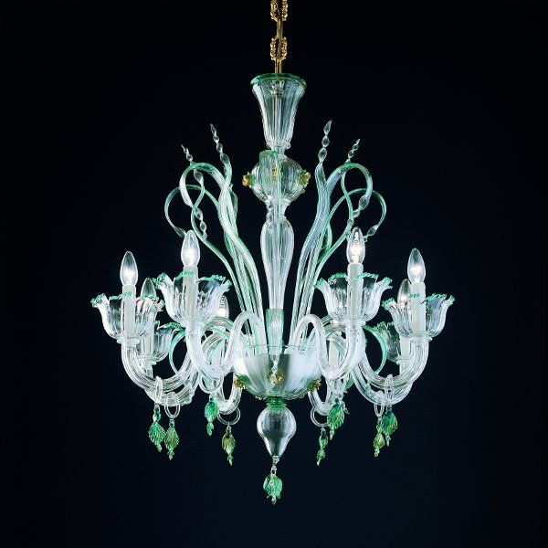 The 7055 K8 chandelier in clear-green-gold