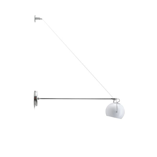 Adjustable polished white blown glass Beluga D57 D07 wall lamp