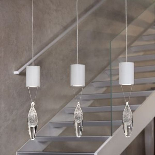 Anima S1 pendant light with white enemeled metal mount