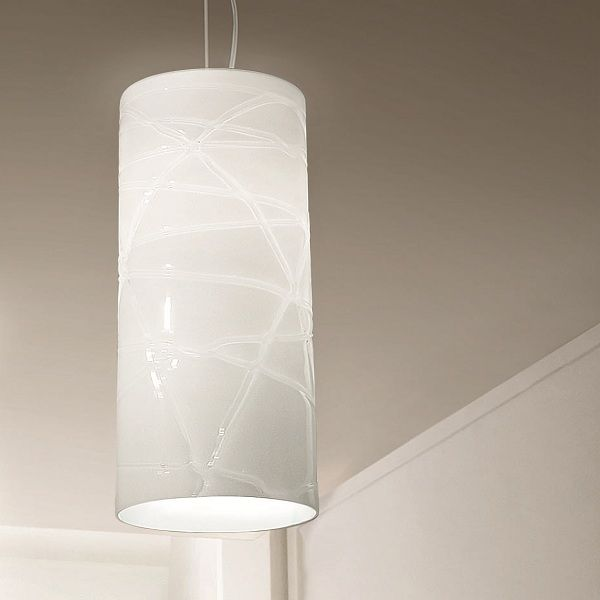 Follia SP G/D1 Pendant light, white with crystal threads