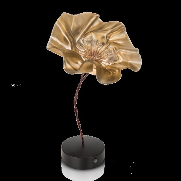 La Fleur Battery table lamp, velvet (gold)