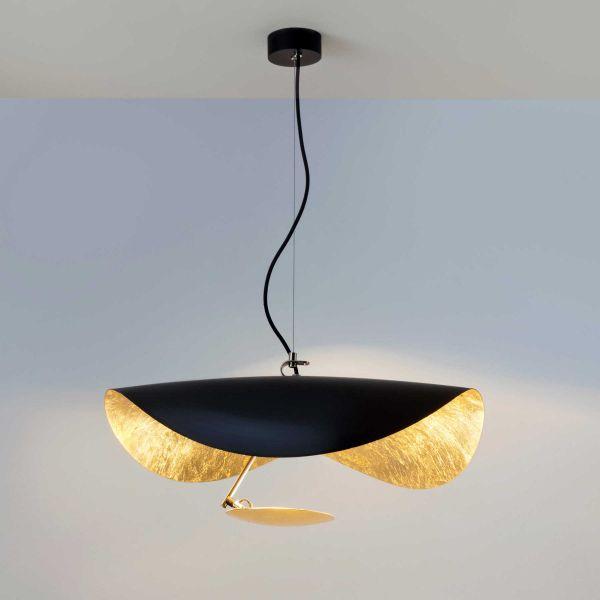 Lederam Manta S1 Suspension Lamp, Black / Gold