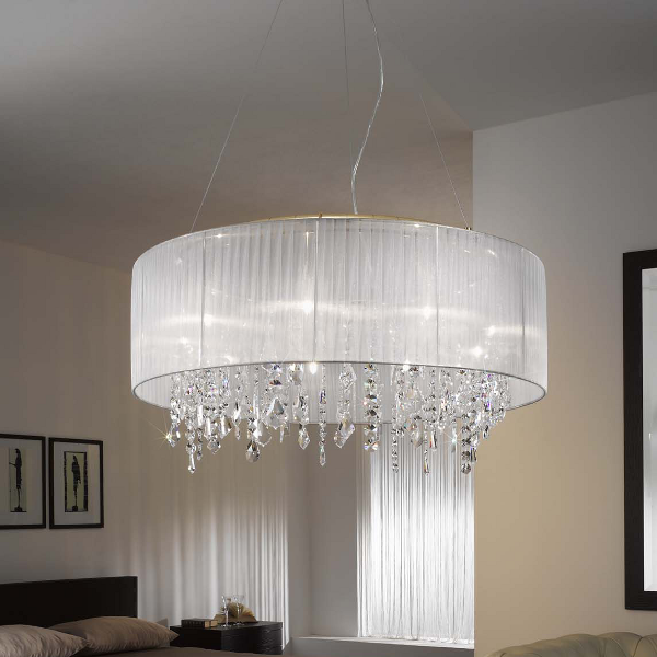 Paralume 9 pendant lamp, gold plated, white shade, Spectra crystals clear