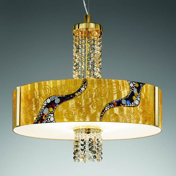 Emozione Kiss Pendant light with crystal/gold crystals