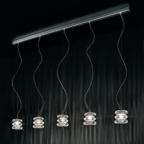 Spring SO Pendant light, chrome with 5 pendants