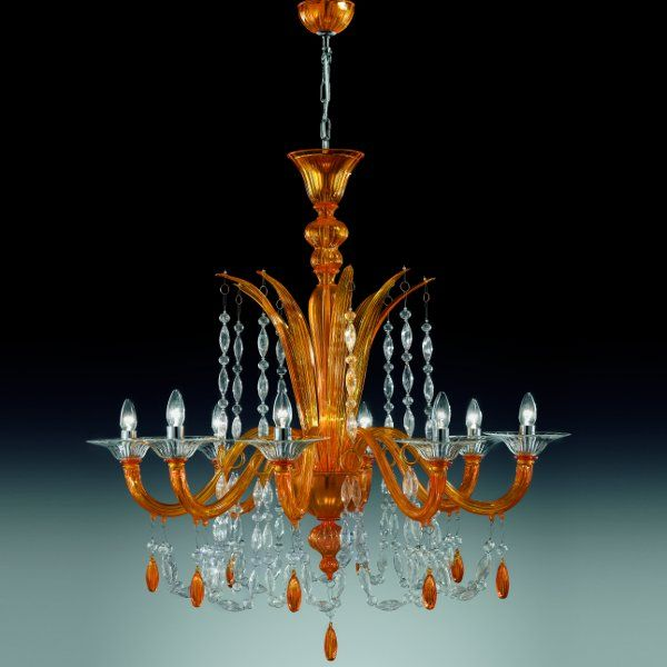 The 6009 K8 chandelier  in melon yellow-clear