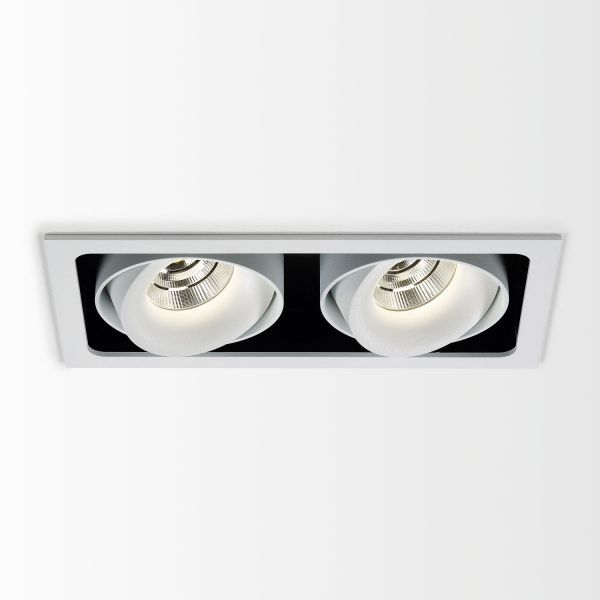Deltalight, Minigrid in 2 frame ceiling recessed spotlight with soft dim, colors white-black + white