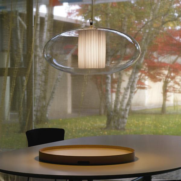 Ellisse D80 pleated fabric Pendant light
