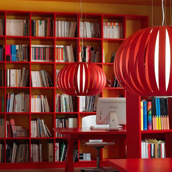 Poppy suspension lamp small in in red in an accomodation example - not available for USA, Canada & Australia