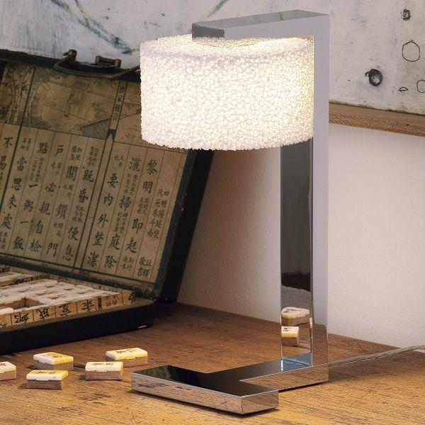 Reef Halogen Table light, example in living area, chromed aluminium