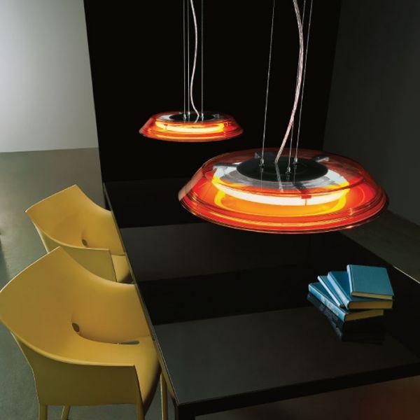 Disco Pendant Lamp With Orange Finish