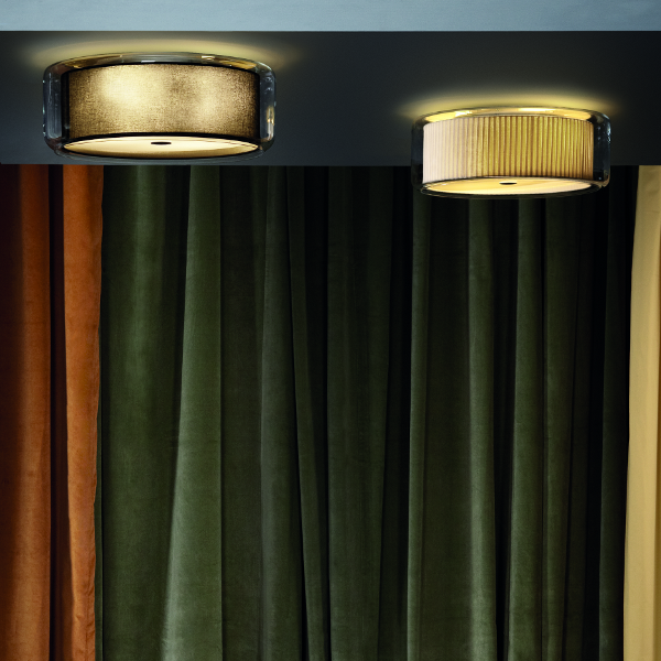 The Mercer ceiling light in black-gold and natural cotton