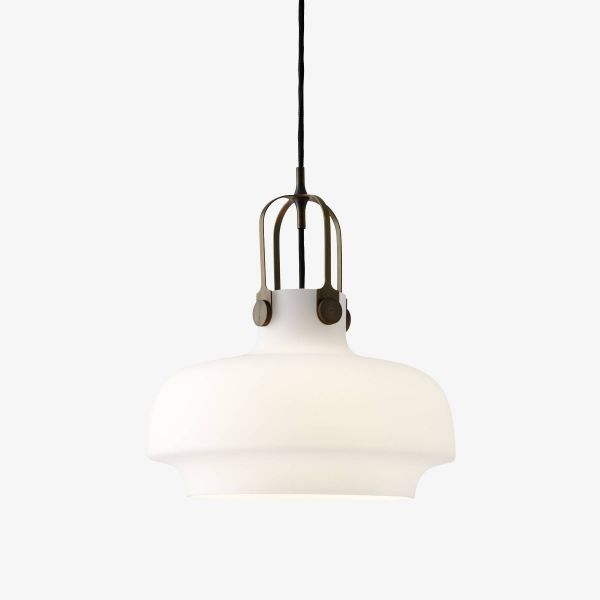 Copenhagen SC7 Pendant Light opal glass light on with bronzed brass suspension