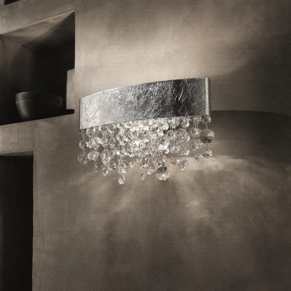Olà A2 OV 50 LED wall lamp, silver leaf