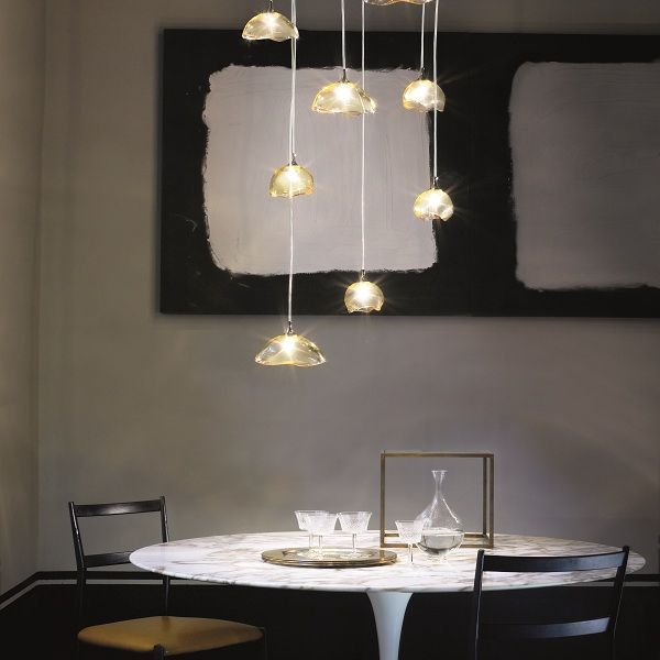Ninfea SP 8 P Pendant light topas, example in living area