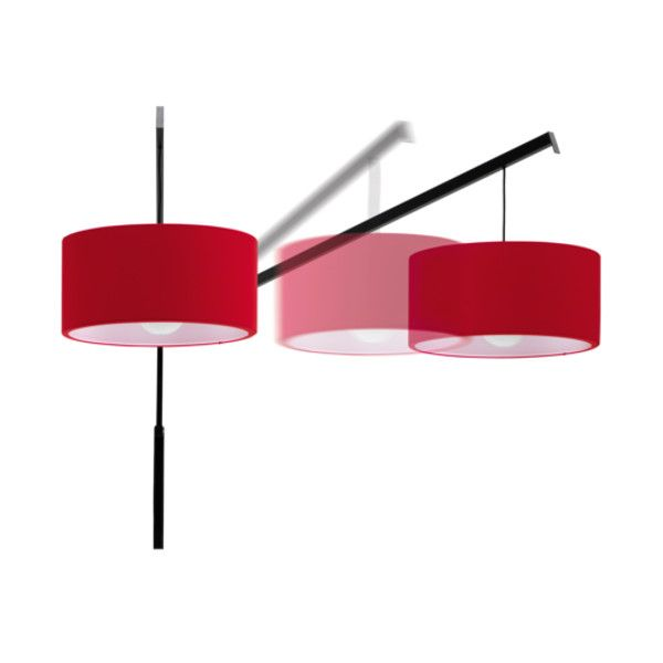 Angelica wall light, red shade, black structure
