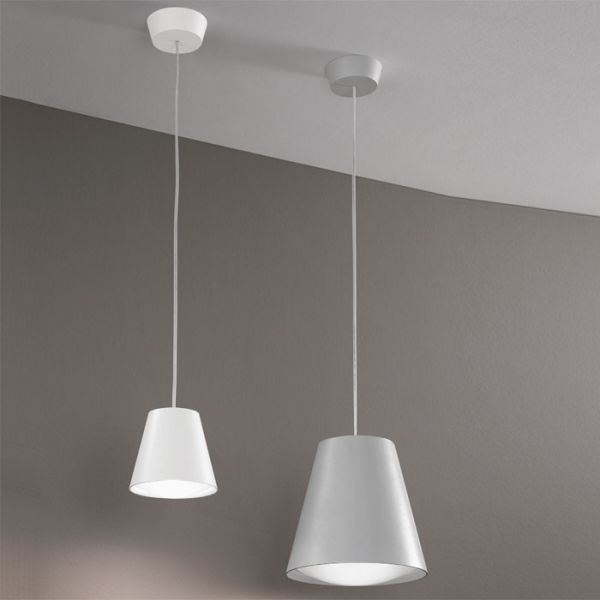 Conus Suspension Light With Grey And White Finish