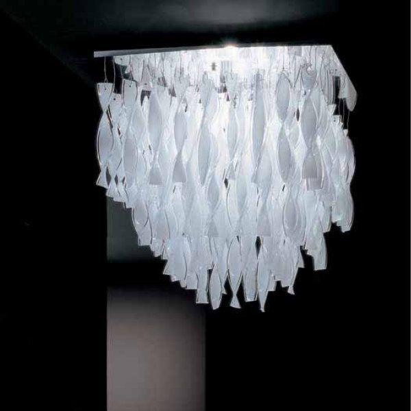 AURA PL GR ceiling light white polished steel