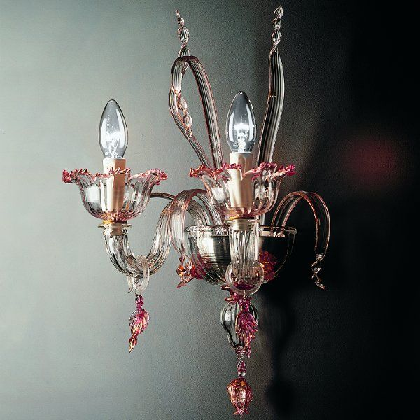 The 7055 A2 wall sconce in clear-ruby-gold