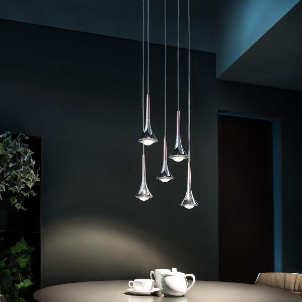 Rain Cluster 5 Lights Round Suspension Lamp