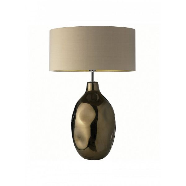 Cordoba table light: bronze structure with shade in taupe light