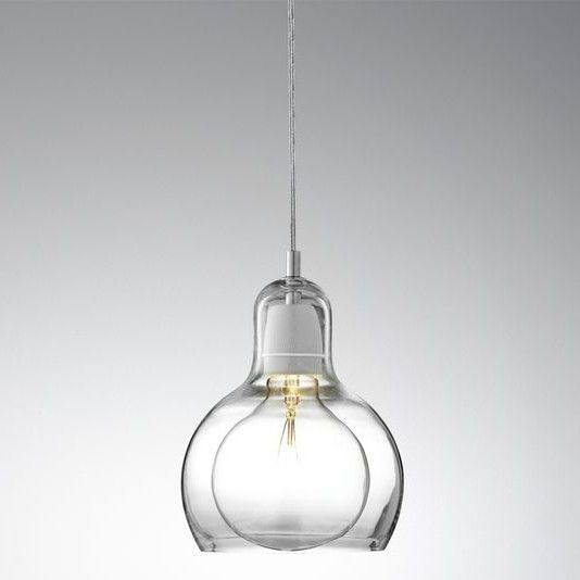 Mega bulb SR2 pendant light with clear mouth blown glass