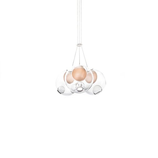 28.3 Pendant light Blown glass, braided metal coaxial cable