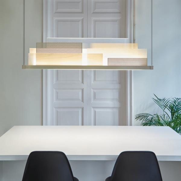 Skyline pendant light in ivory matt, white wood shade