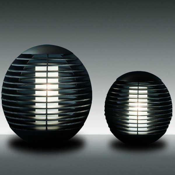 Two Tocco round table lights, maxi and large in wenge