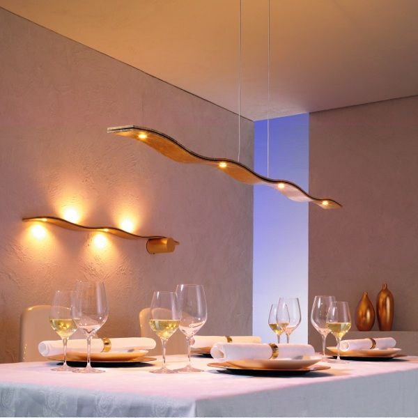 Fluid Pendant light gold