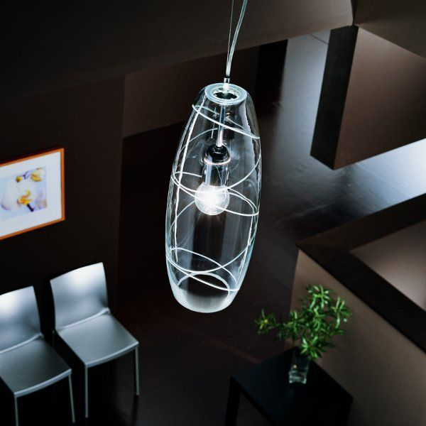 A partly satined Peroni lampshade: clear with engraved rings