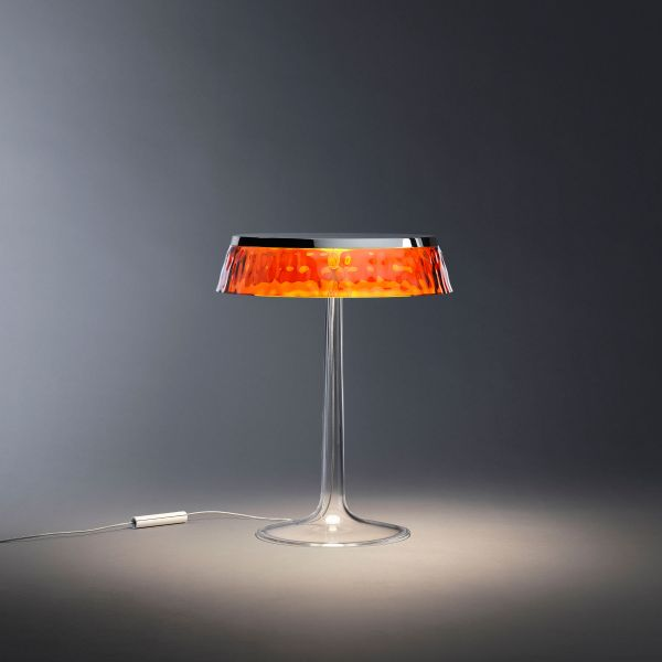 Bon Jour table light amber with chrome finish