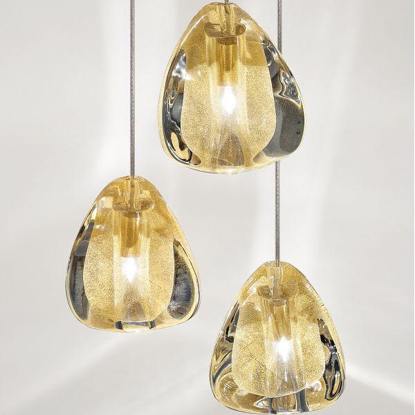 Mizu 3 Pendant Light, Gold