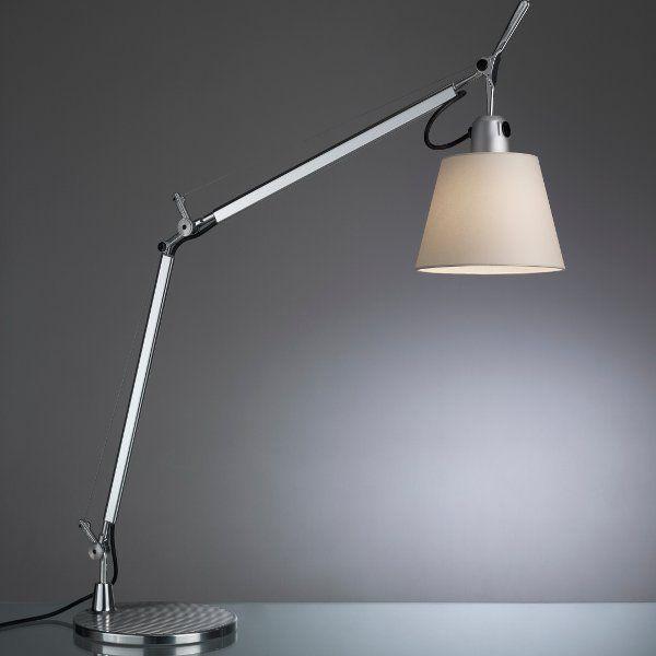 The Tolomeo basculante tavolo table light with a silk satin shade