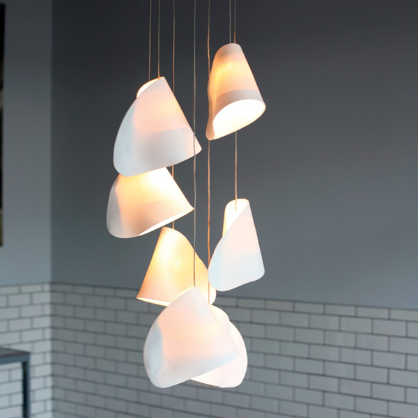 Trumpet shaped diffuser with 7 Xeon pendant light