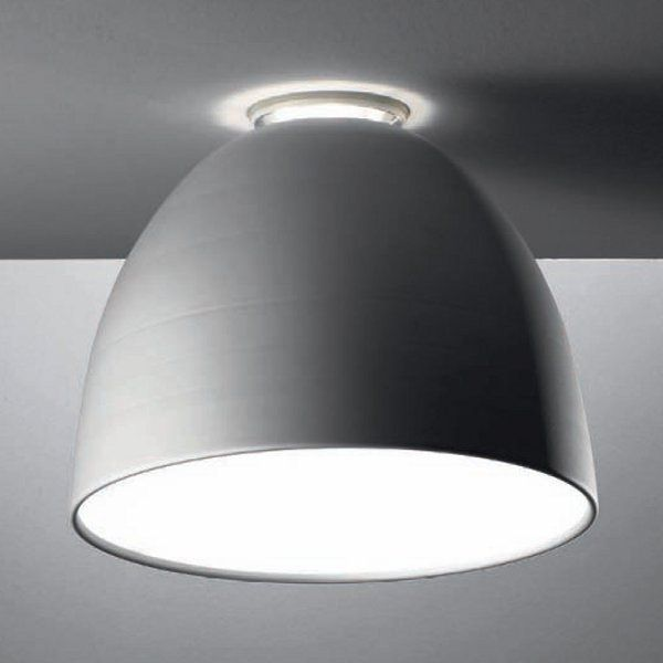 An aluminium-grey Nur soffitto ceiling light