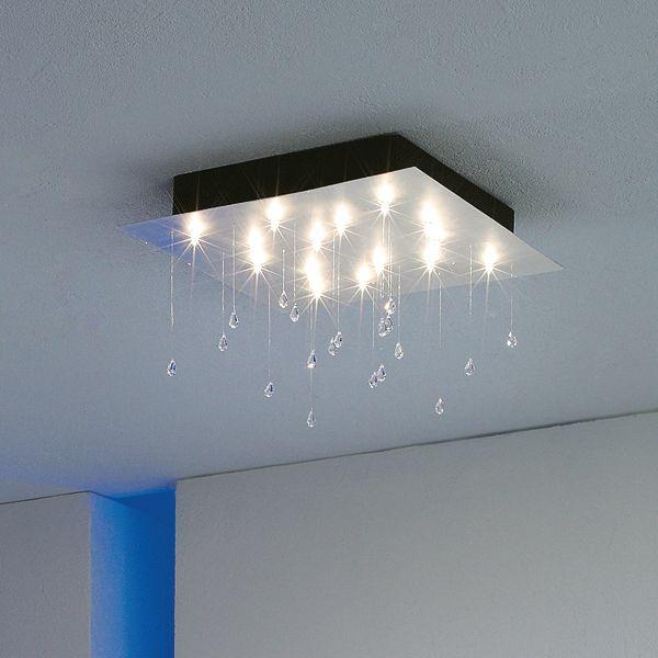 Crystal Rain square medium Ceiling fixture, aluminium leaf