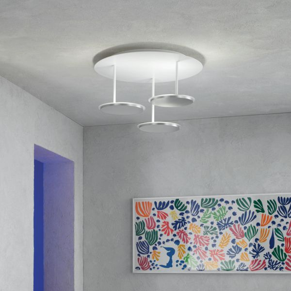Turn Ceiling Light white alu