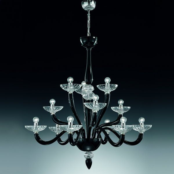 The 8000 K6+3+3 (small) chandelier in black/clear glass