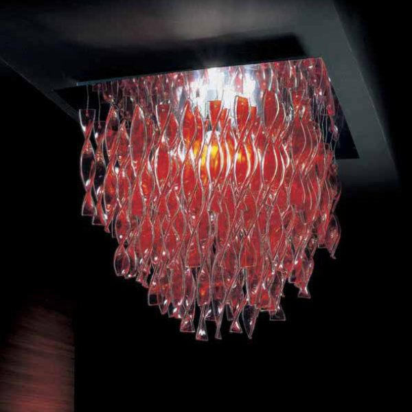 A red Aura PL GR ceiling light with polished steel