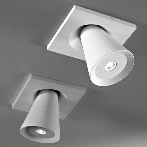 Conus Adjustable Led Ceiling Spotlight With White And Grey Finish