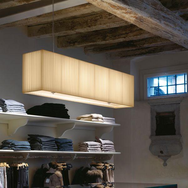 Rettangolo Pendant light, pleated fabric