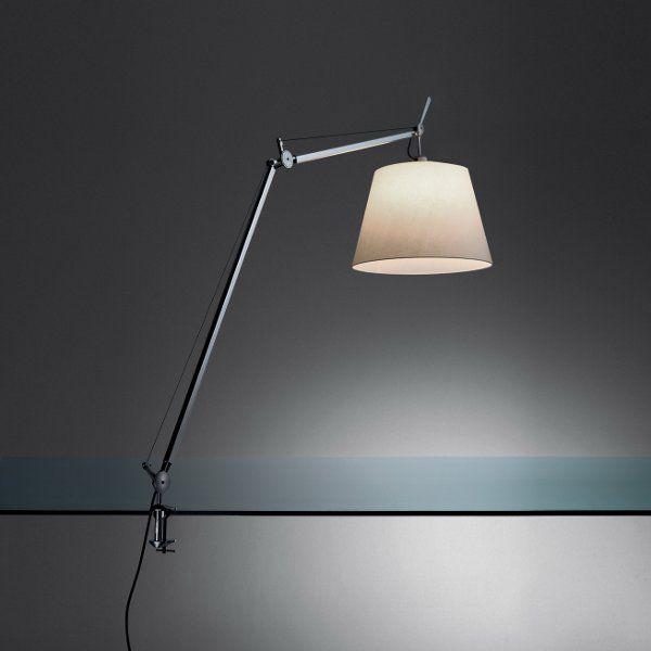 "The Tolomeo mega tavolo ""on-off"" table light with a silk satin shade"