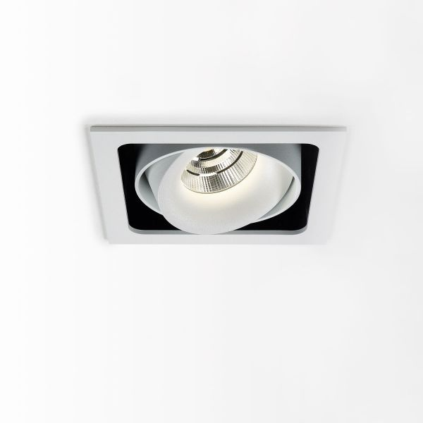 Deltalight, Minigrid in 1 frame ceiling recessed spotlight with soft dim, colors. White-black + white