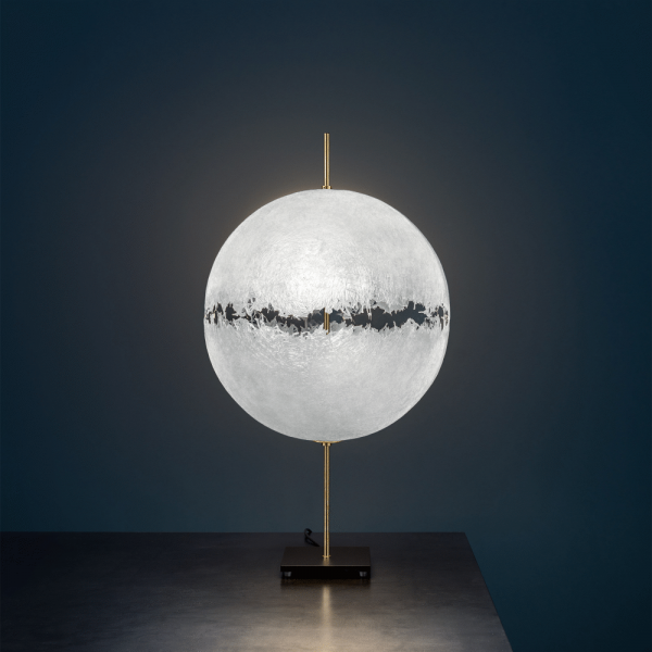 PostKrisi T61 table light in nature/ brass, switched on