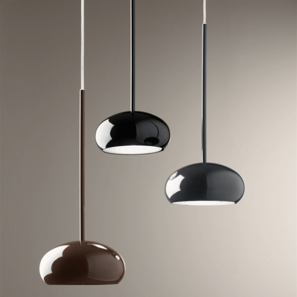 Boa S3D pendant light, marrone, grey, black (from bottom to top)