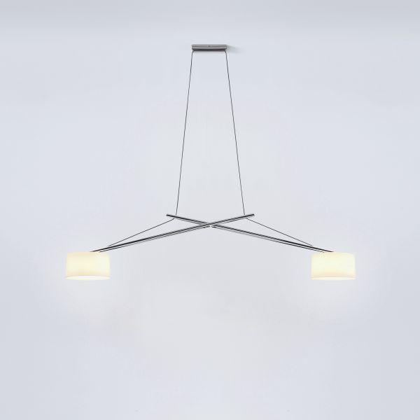 Twin LED pendant light aluminium chromed