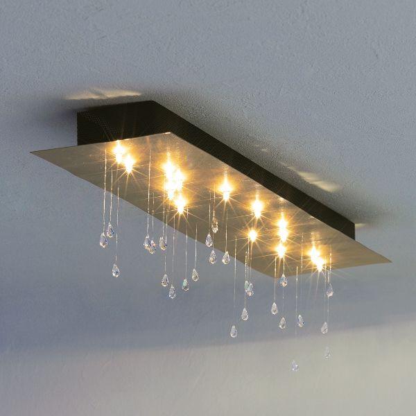 Crystal Rain Rectangular Ceiling Light, goldleaf