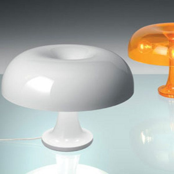 A white and an orange-translucent Nessino table light