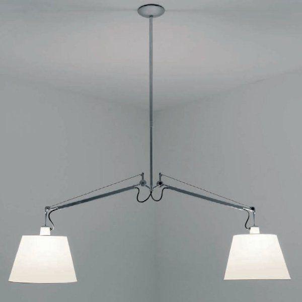 The Tolomeo sospensione due bracci pergamena pendant light